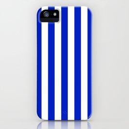 Cobalt Blue and White Vertical Beach Hut Stripe iPhone Case