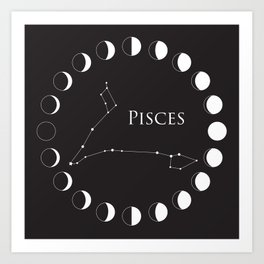 Pisces Zodiac Constellation and Phases of the Moon Kunstdrucke