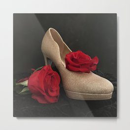 Glitter Gold Stiletto and Two Red Roses Metal Print
