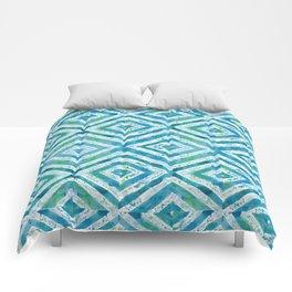 Blue Diamond watercolor pattern Comforters