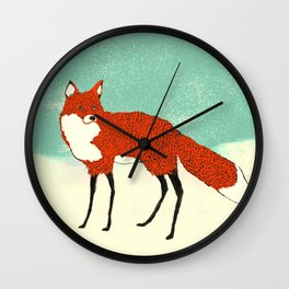 Fox in the snow, Kitsune, Vintage inspired illustration Wall Clock