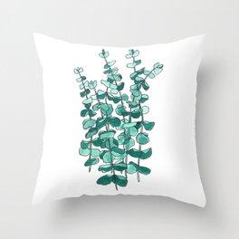 Eucalyptus Branch Watercolor Painting Throw Pillow