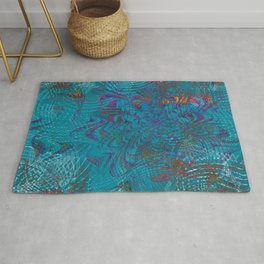 Psychedelic Blue Sea Swirl Rug