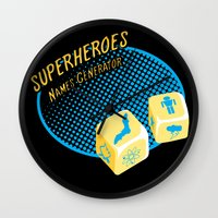 super heroes Wall Clocks featuring Super-Heroes-Name-Generator by sergio37