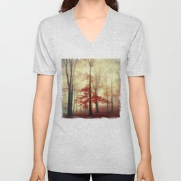 Fall in Red - Beech Tree with red foliage Unisex V-Neck