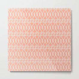 White Ornamental Designs on Pink Background Metal Print