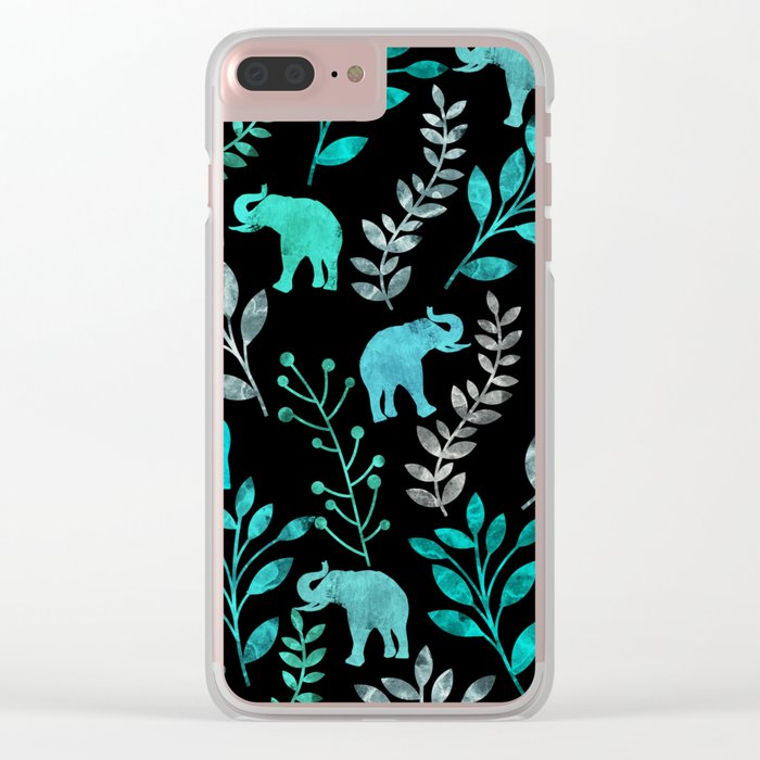 Watercolor Flowers & Elephants IV Clear iPhone Case