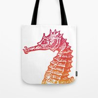 seahorse Tote Bags featuring Red & Orange Seahorse by Aloke Design