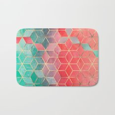 Rose And Turquoise Cubes Bath Mat