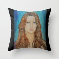 jennifer lawrence Throw Pillows featuring Jennifer Lawrence by Jenn