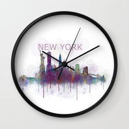 NY New York City Skyline v5 Wall Clock