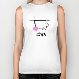 Love Iowa State Sketch USA Black Art Tees Biker Tank