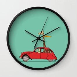 Giraffe 2CV on the wind Wall Clock