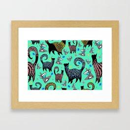 Blue Snobby Cocktail Cats Framed Art Print