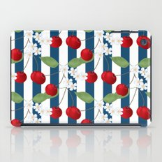 Seamless pattern with cherry and flowers on striped background iPad Case
