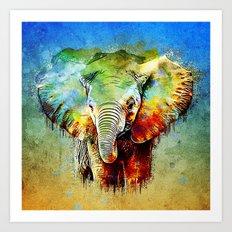 watercolor elephant Art Print