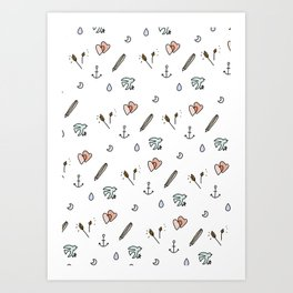 Anchor and Love Pattern. Art Print