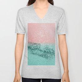 Summer Vibes Glitter #4 #coral #mint #shiny #decor #art #society6 Unisex V-Neck