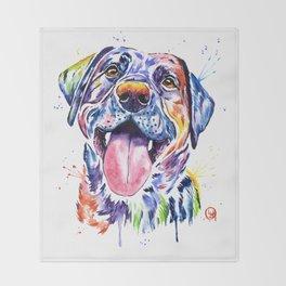Black Lab Colorful Watercolor Pet Portrait Painting Throw Blanket