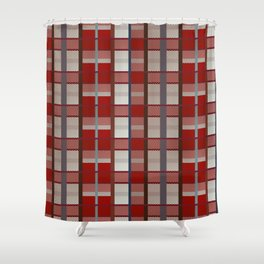 Retro red, blue, white and orange plaid pattern Shower Curtain