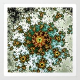 Afro Spiral Flower - fractal art Art Print