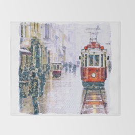 Istanbul Nostalgic Tramway Throw Blanket