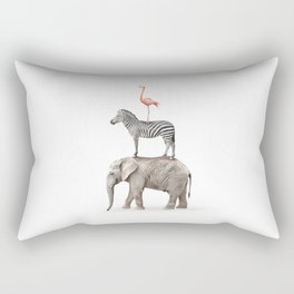Stacked Safari Animals Rectangular Pillow