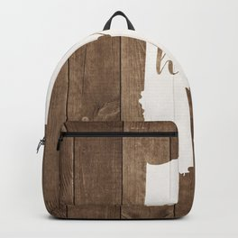 Indiana is Home - White on Wood Backpack