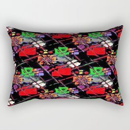 Flower Bits Under Glass Pattern Rectangular Pillow