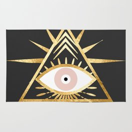 gold foil triangle evil eye Rug