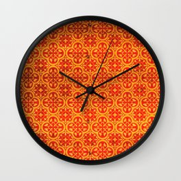 N67 - Yellow & Red Vintage Antique Geometric Traditional Moroccan Style. Wall Clock