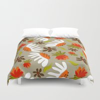 vintage flowers Duvet Covers featuring Vintage Flowers by Patternopolis