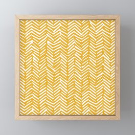 Boho Abstract Herringbone Pattern, Summer Yellow Framed Mini Art Print