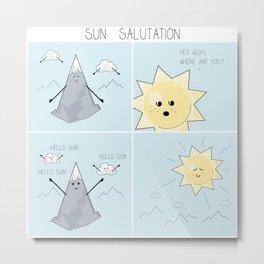 Sun salutation funny comic square panel Metal Print