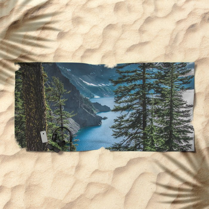 Blue Crater Lake Oregon in Summer Beach Towel