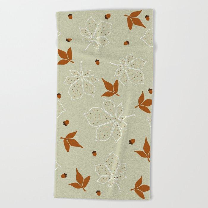 Autumn Leaves Pattern Beach Towel