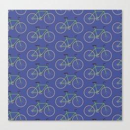Green bikes on blue Canvas Print