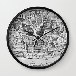 Old Map Of Liverpool Wall Clock