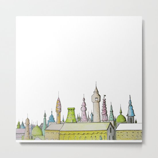 тhe city's rooftops painted with delicate flowers Metal Print