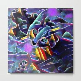 The Blue Purple Cat Metal Print
