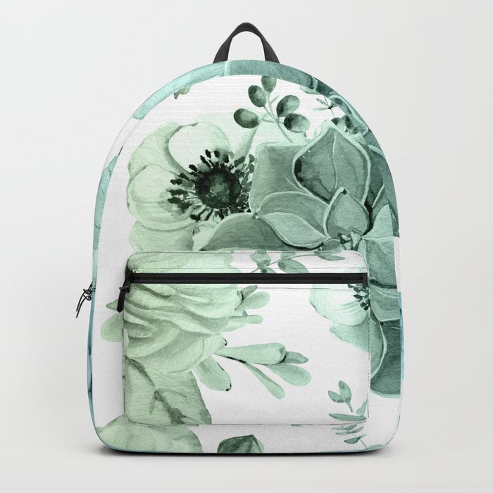 Simply Succulent Garden in Turquoise Green Blue Gradient Backpack