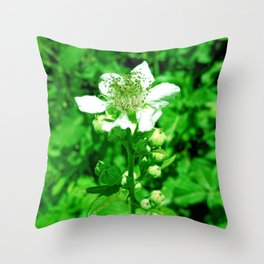 White flower with green leaves Throw Pillow