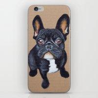 french bulldog iPhone & iPod Skins featuring French Bulldog by PaperTigress