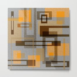 Mid Century Modern Blocks on Gray Metal Print