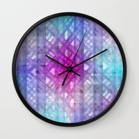 grid Wall Clocks featuring Grid by Christine baessler