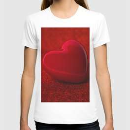 The red Heart shape on red abstract light glitter background T-shirt
