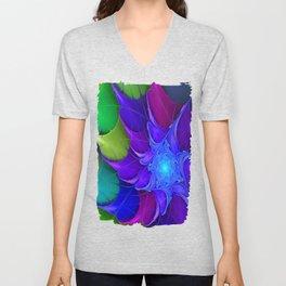 Artistic fractal abstract colour wheel Unisex V-Neck