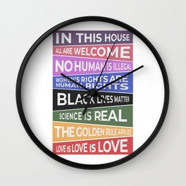 In This House, All Are Welcome Banner Wall Clock