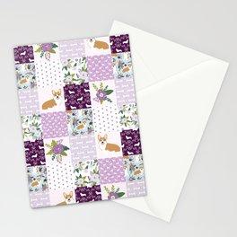 Corgi Patchwork Print - purple ,florals , floral, spring, girls feminine corgi dog Stationery Cards