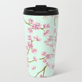 Spring Flowers - Mint and Pink Cherry Blossom Pattern Metal Travel Mug